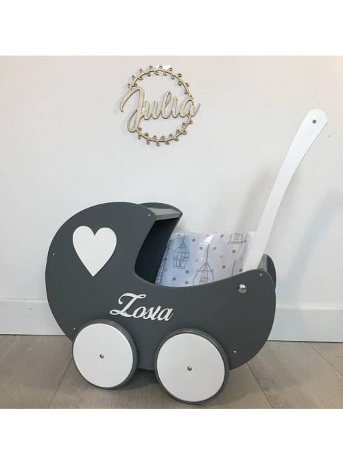 Drewniany wózek dla lalek z...