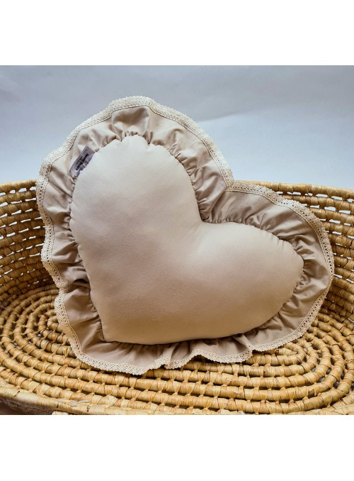 Beżowa poduszka serce ROMATNIC