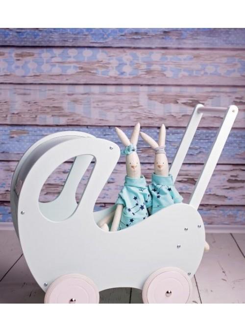 Drewniany wózek dla lalek -...